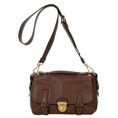Brown Prada Pebbled Leather Messenger Bag