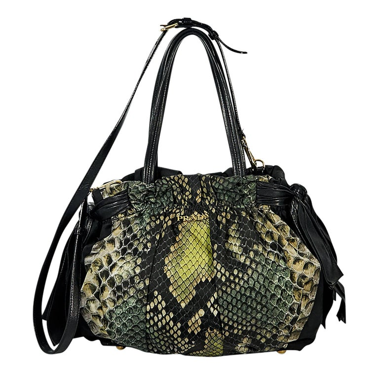 Green Prada Snake-Printed Tessuto Satchel For Sale
