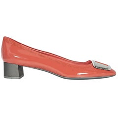 Neon Orange Prada Patent Leather Kitten Heels