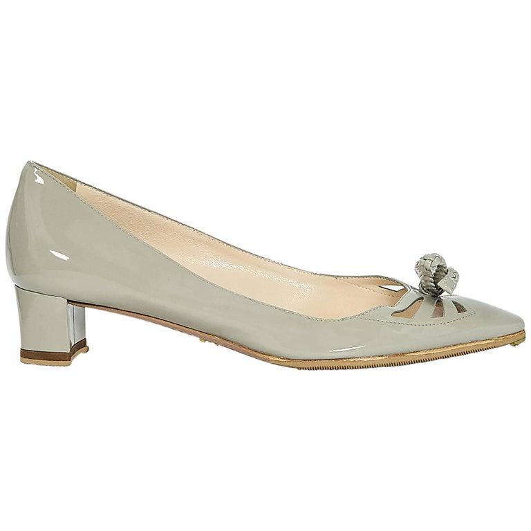 Light Grey Kitten Heel Shoes
