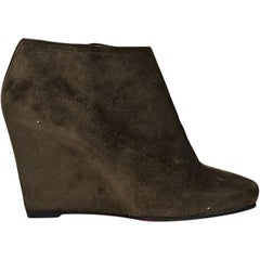 Brown Christian Louboutin Suede Wedge Ankle Boots