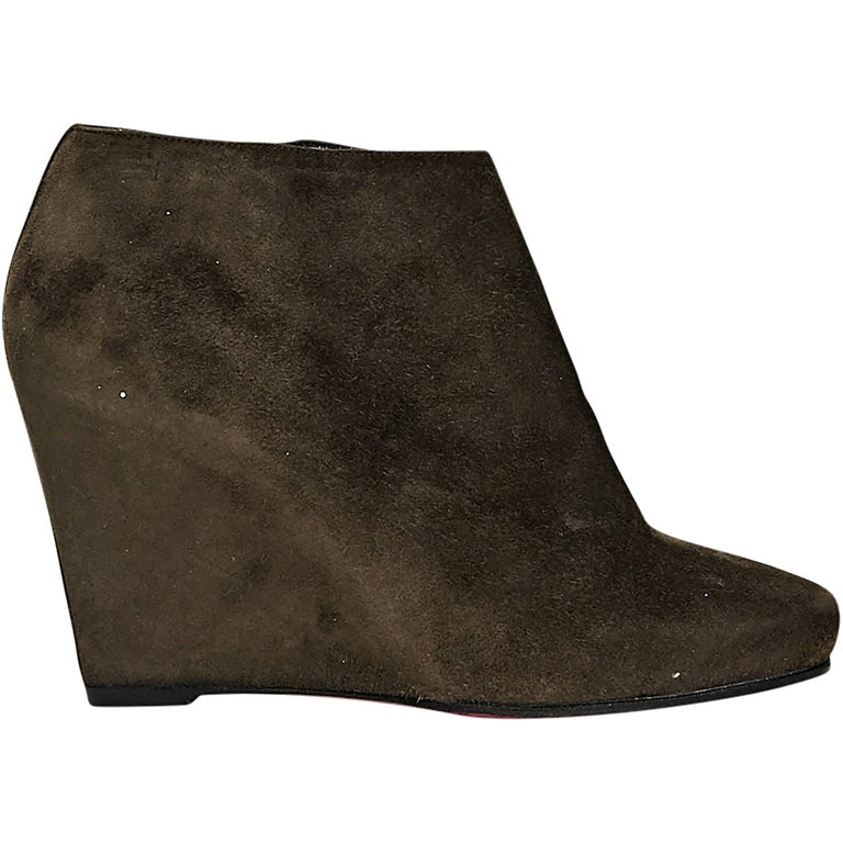 Brown Christian Louboutin Suede Wedge Ankle Boots 1