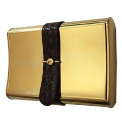 Stunning Piece  / Rare 70s Gucci Gold Tone + Leather Minaudière