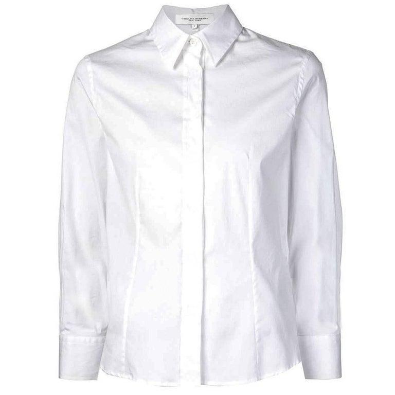 eb38d8f726 Carolina Herrera White Button Up Blouse Sz 4 at 1stdibs