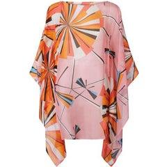 Emilio Pucci Pink Sheer Silk Kaftan Sz US4