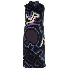 Emilio Pucci 2017 Black & Purple Sleeveless Printed Dress Sz US4