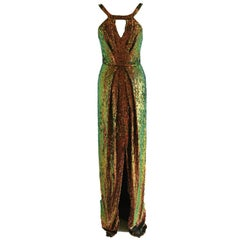 Long Sequin Dress with Detachable Cape
