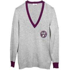 ​Chanel Grey Cashmere Prep-School Sweater sz L