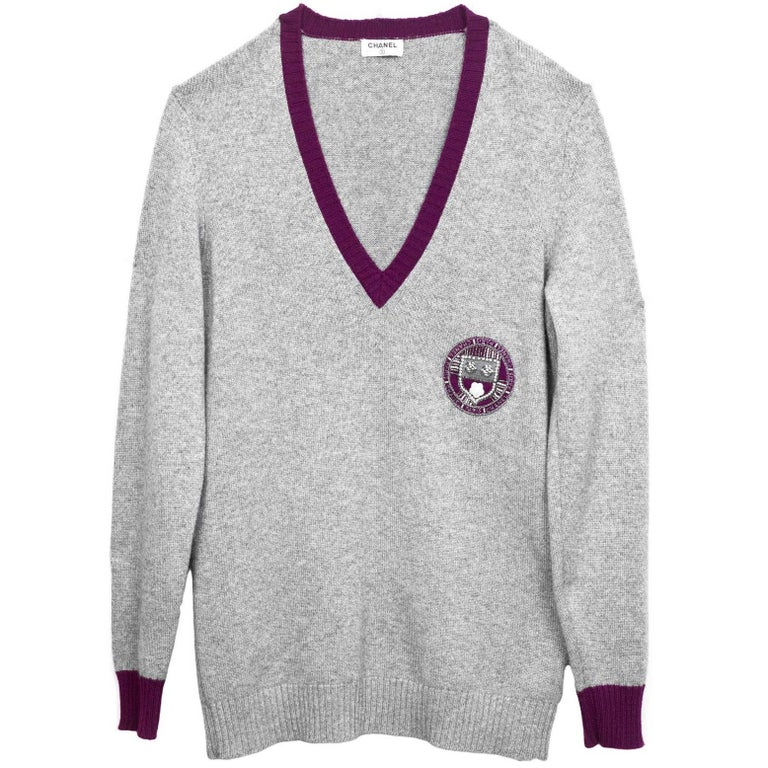 Chanel Grey Cashmere Prep-School Sweater sz L