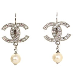 Chanel 2016 Crystal CC & Pearl Pierced Earrings