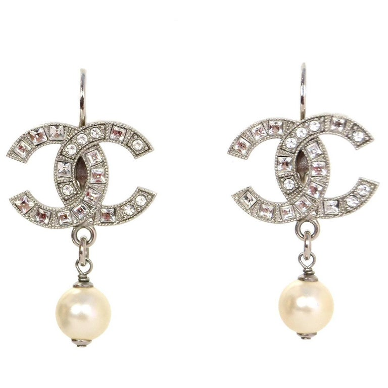 Chanel 2017 Crystal Cc Pearl Pierced Earrings For