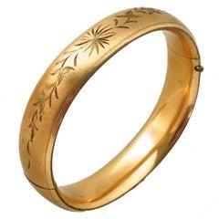 Gold Filled Floral Incised Bangle Bracelet