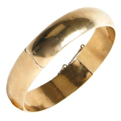 Sterling Silver Vermeil Round Bangle Bracelet