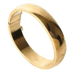 Gold Plated Sterling Silver Oval Bangle Bracelet