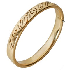 Floral Incised Gold Plated Bangle
