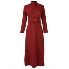 Double Knit A-line Turtleneck Dress with Belt