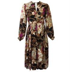 Chester Weinberg Silk Floral Print Long Sleeve Dress