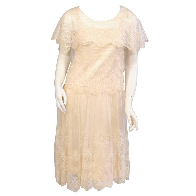 1920's Cream Lace & Silk Dress
