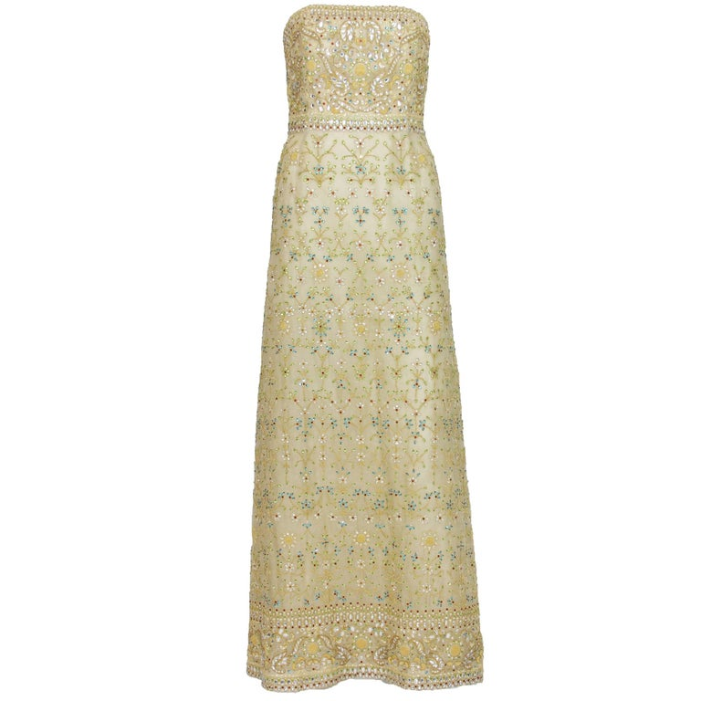 Oscar de la Renta $13,000 S/S 2003 Fully Beaded Dazzling Champagne Gown US 4
