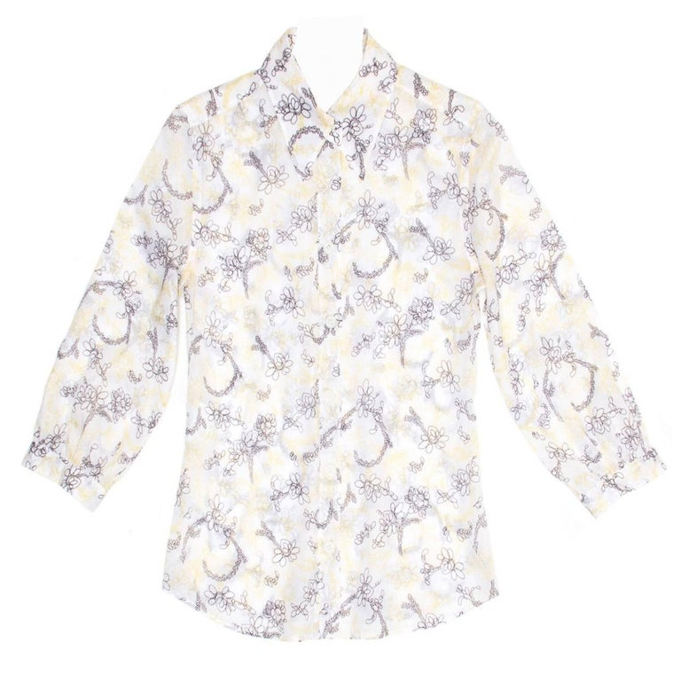 Prada White Yellow & Brown Floral Top