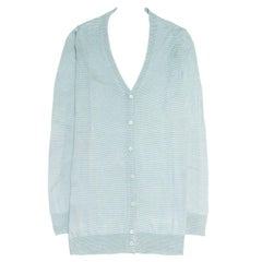 Prada Green & White Striped Cardigan