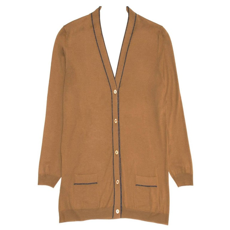 Prada Brown V-neck Wool Cardigan For Sale