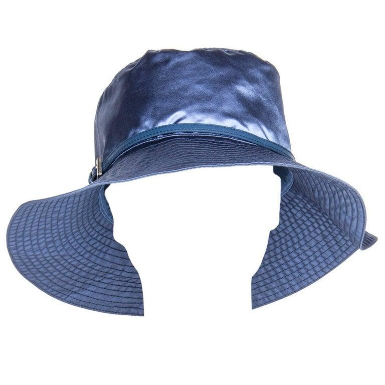 Prada Royal Blue Silk Hat For Sale