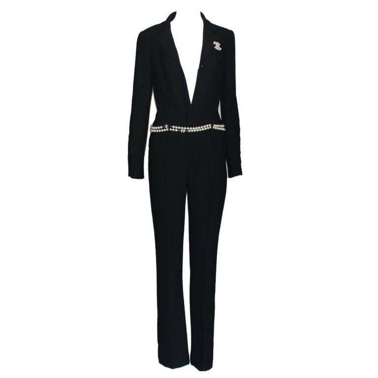 Chanel Black Boucle Overall Jumpsuit with Zipper For Sale