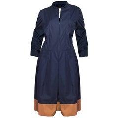 Akris Navy Pleated Dress with Tan Trim Sz US14