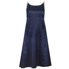 Prada Navy Silk Backless Spaghetti Strap Dress Sz IT38