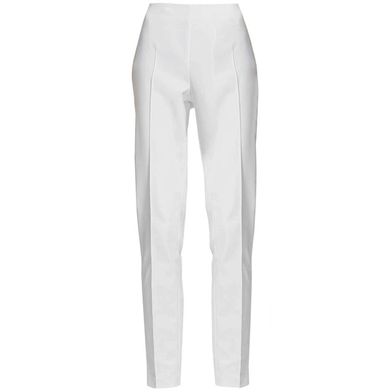 Akris White Cropped Pants Sz 8 For Sale