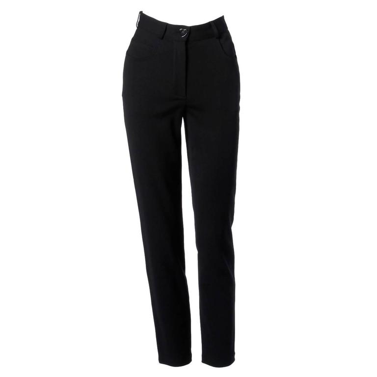 Moschino Vintage Black Wool High Waisted Pants with Heart Button