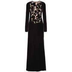 Valentino Black Embellished Velvet Gown
