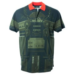 Givenchy Men's Olive & Red Printed Graphic Polo Shirt