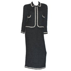 Chanel Boucle Signature Skirt Suit with CC logo buttons