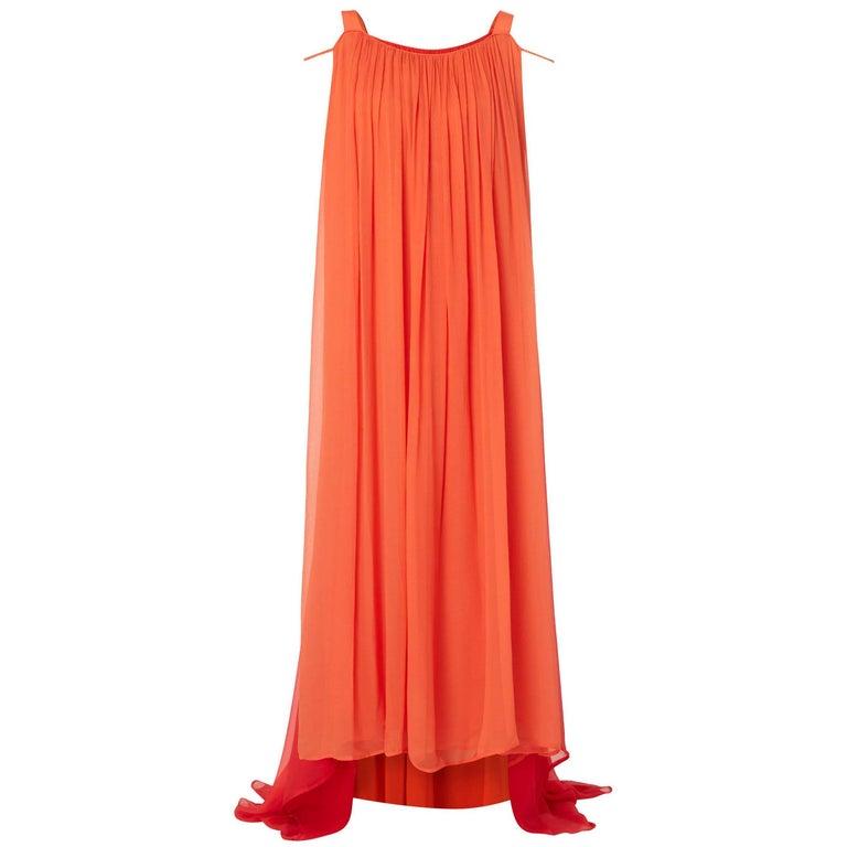 Yves Saint Laurent Haute couture orange & red dress, circa 1975 For Sale