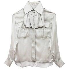 Fendi Grey Sheer Silk Blouse with Bow Tie Sz IT38