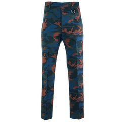 Givenchy Men's Blue & Orange Camouflage Corduroy Pants