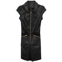 Louis Vuitton Black Cap Sleeve Cotton Dress Sz FR34