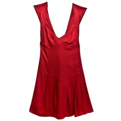 Moschino Brick Red Cocktail Dress w/ Bow Pleated Back Sz US4