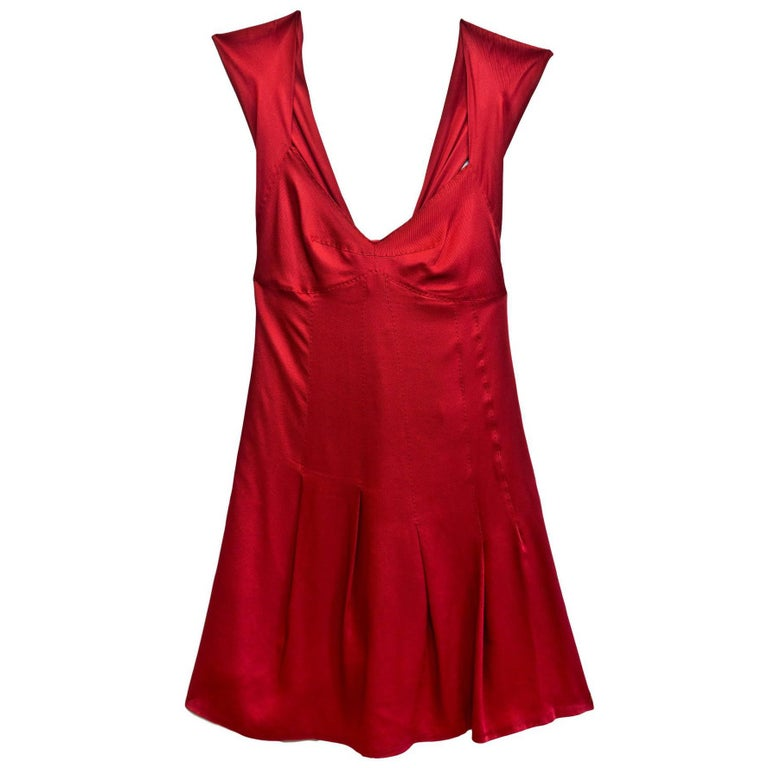 Moschino Brick Red Cocktail Dress w/ Bow Pleated Back Sz US4 For Sale