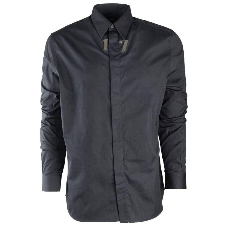 Givenchy Men's 100% Cotton Black 17 Button Down