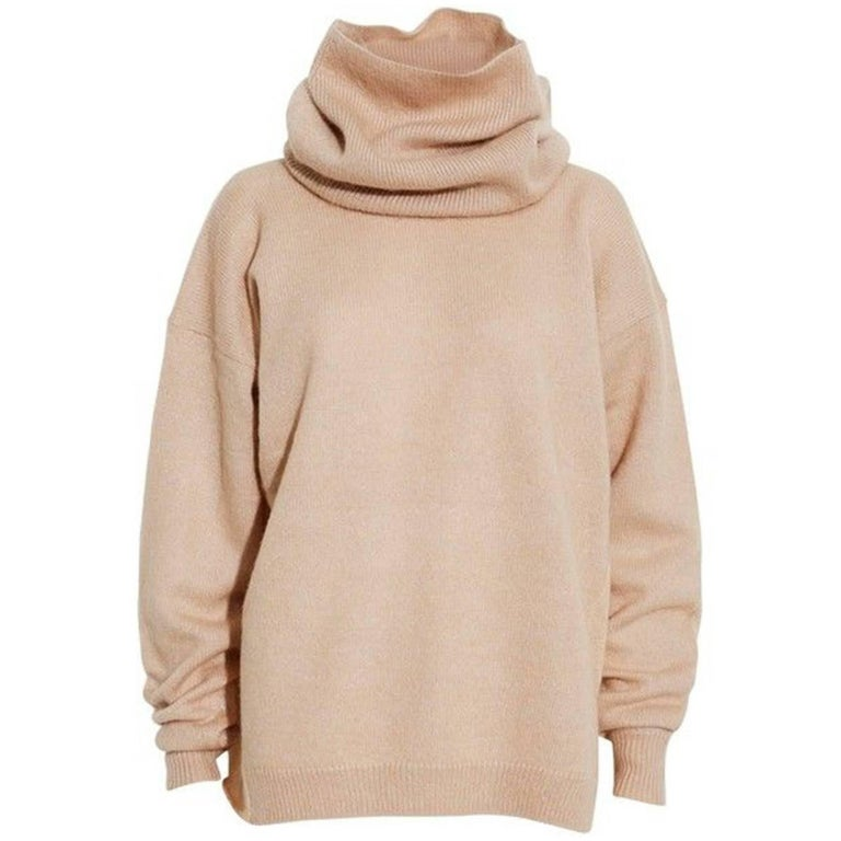 Acne Studios Oatmeal Wool Oversized Sweater w/ Removable Collar Sz S For Sale