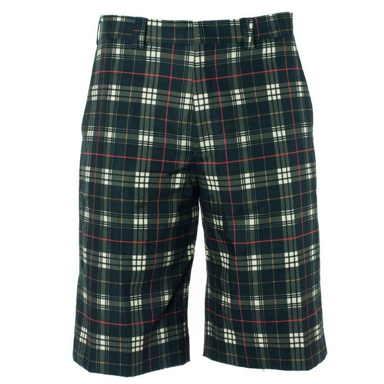 Givenchy Mens 100% Cotton Black Plaid Board Shorts