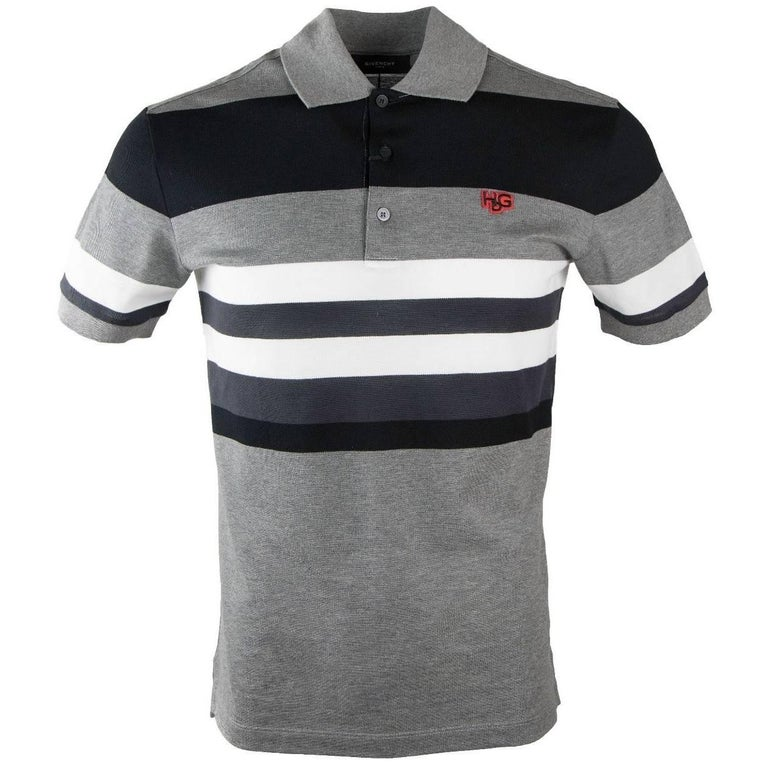 2df5db4cded48 Givenchy Men s Black and White Striped 100% Cotton Polo at 1stdibs