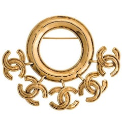 Chanel Vintage Gold Round Hanging Charms Evening Brooch in Box