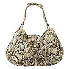 Beige Tod's Python Hobo Bag