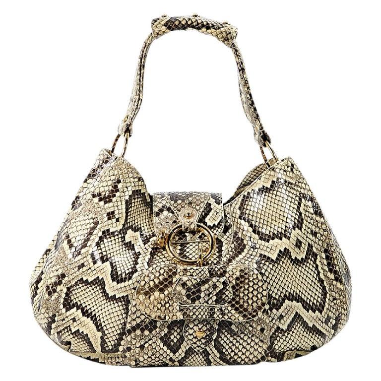 Beige Tod's Python Hobo Bag 1