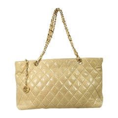 Tan Vintage Chanel Quilted Tote Bag