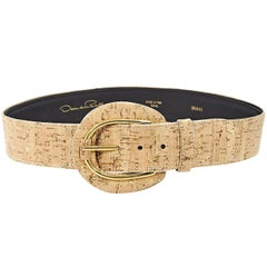 Tan Oscar de la Renta Wide Cork Belt